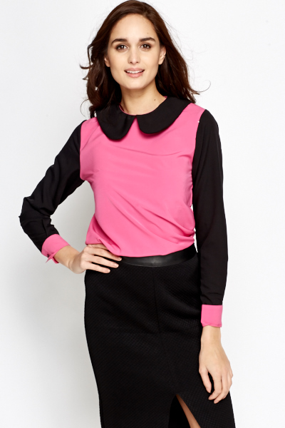 Peterpan Collar Colour Block Blouse