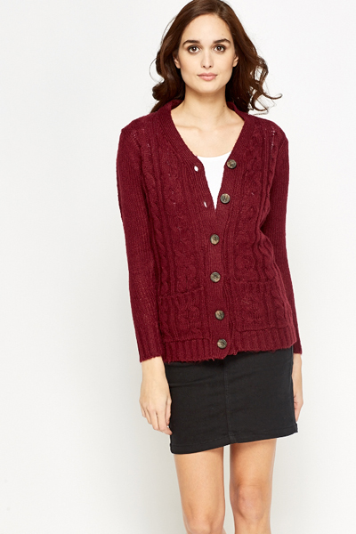 Plait Knit Front Cardigan