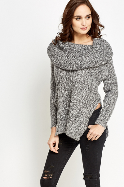 Speckled Off-Shoulder Knit Jumper