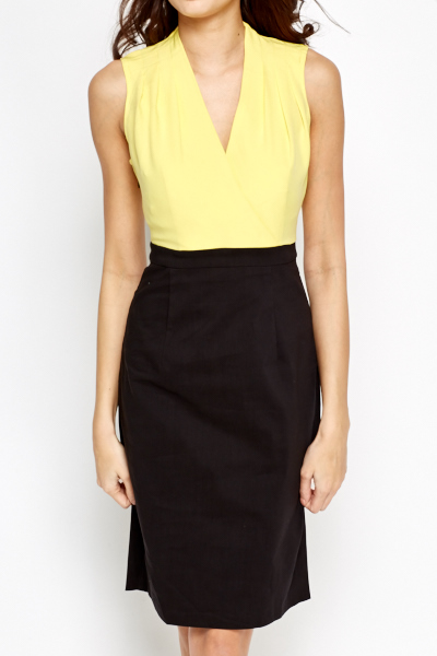 Yellow Plunge Contrast Dress