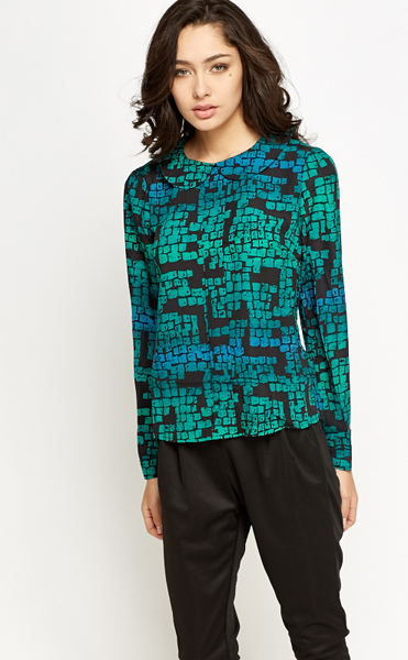 Collared Green Grid Print Top