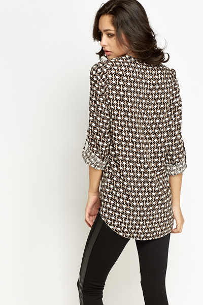 Contrast Geo Print Blouse