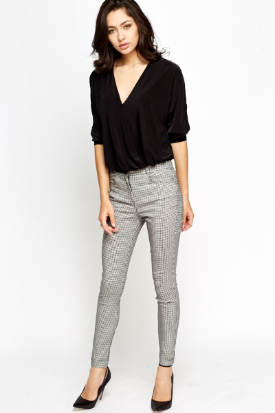 Grid Check Slim Leg Trousers