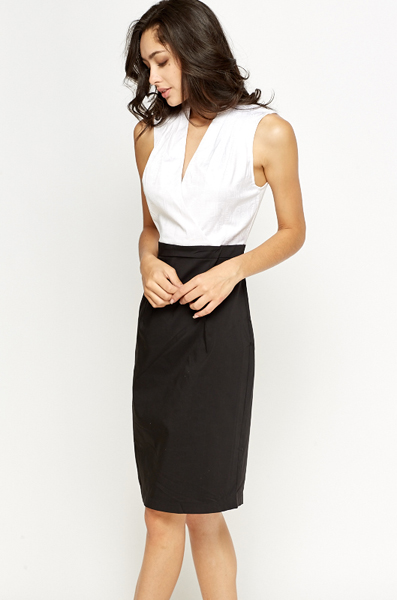 Mono Wrap Bodice Pencil Dress