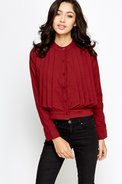 Pleated Front Button Up Jacket