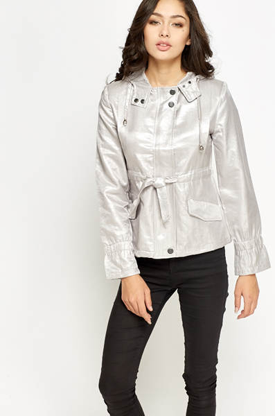 Short Metallic Hooded Jacket