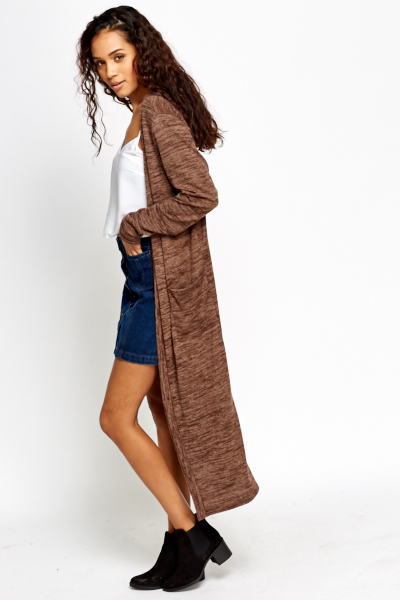Brown Longline Cardigan