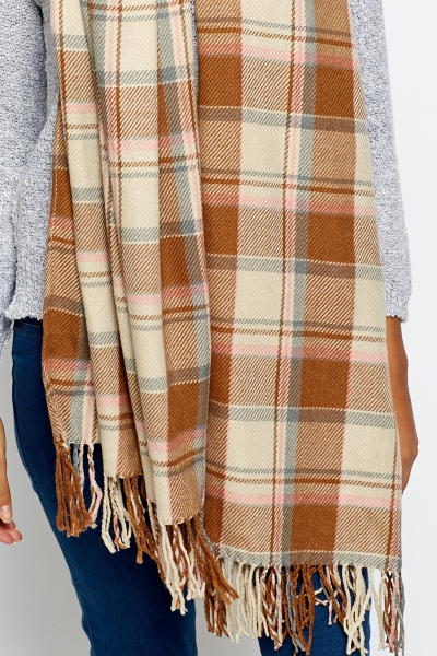 Brown Multi Check Scarf