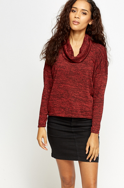 Cowl Neck Slit Back Knit Top