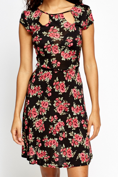Cut Out Neck Floral Swing Dress