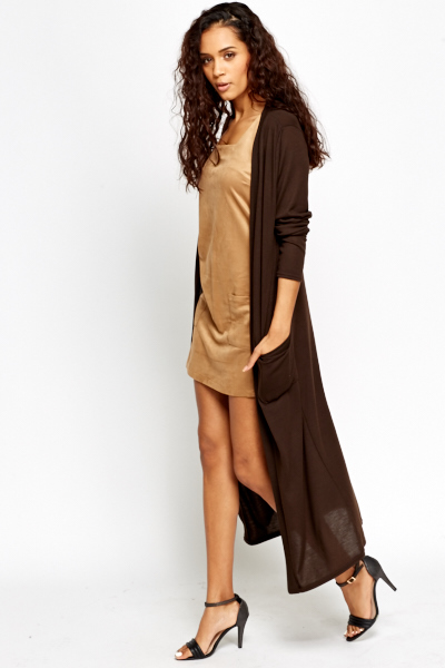 Dark Brown Longline Cardigan - Just £5