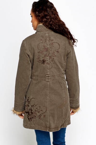Floral Embroidered Denim Coat