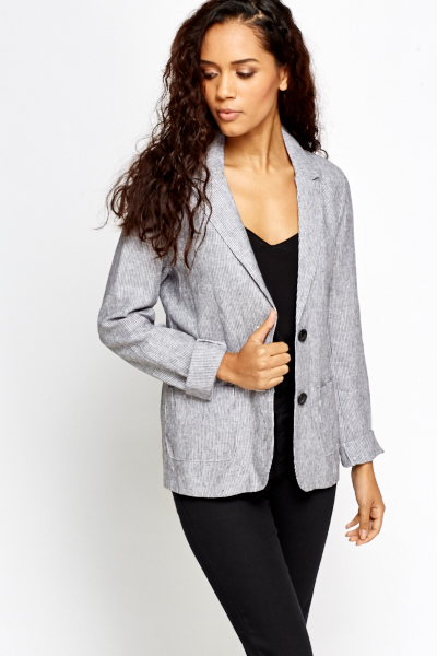 Grey Striped Blazer