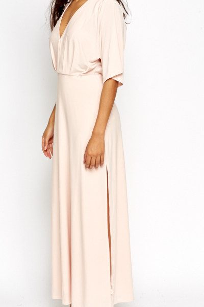 Light Pink Plunge Slit Hem Dress