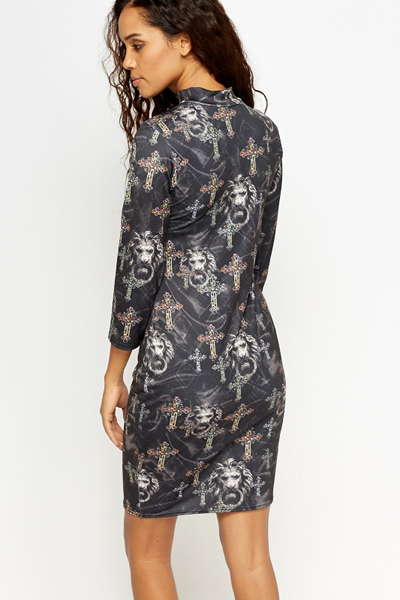 Skull Cross High Neck Bodycon Dress