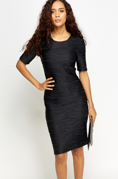 Textured Black Bodycon Dress