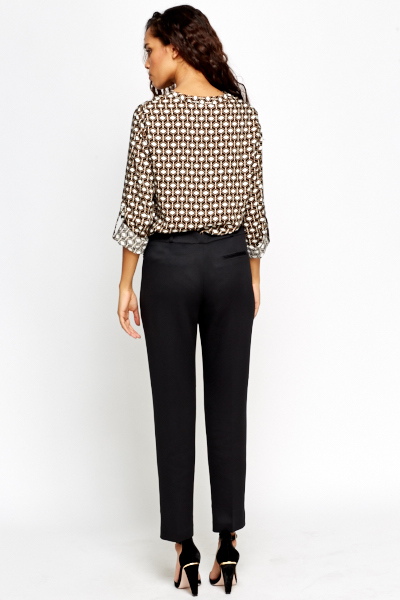 Textured Black Tapered Trousers
