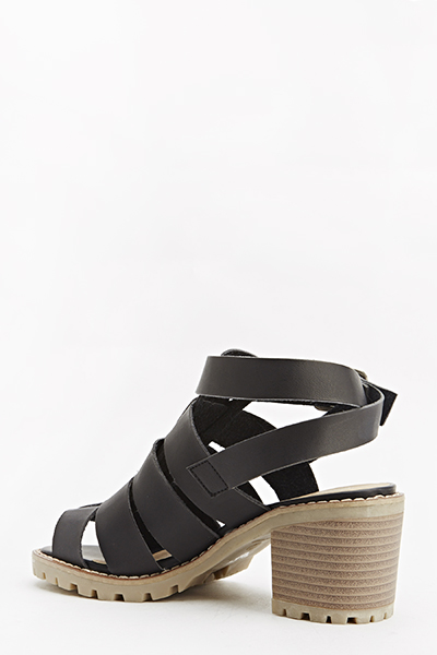 Chunky Strap Wooden Heel Sandals