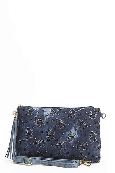 Contrast Butterfly Print Denim Clutch Bag