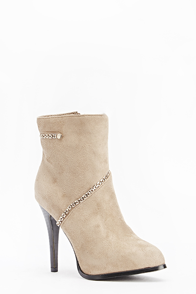 High Suedette Chain Detail Boots