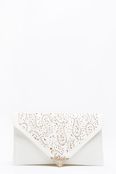 Paisley Laser Cut Envelope Clutch