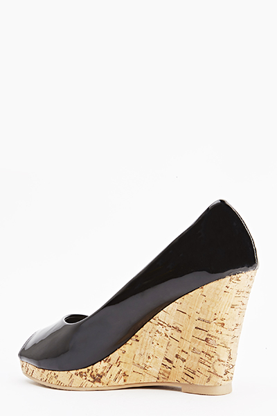 PVC Cork Peep Toe Wedge Shoes