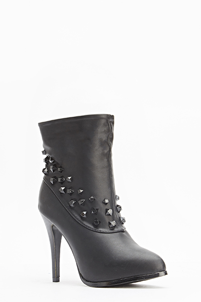 Studded Trim Heeled Boots