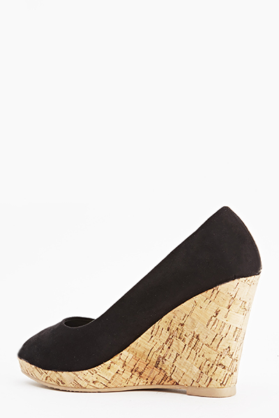 Suedette Cork Wedge Peep Toe Shoes