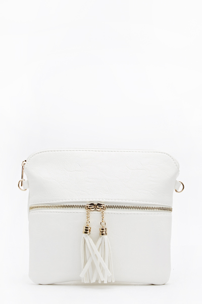 Tassel Zip Front Crossbody Bag