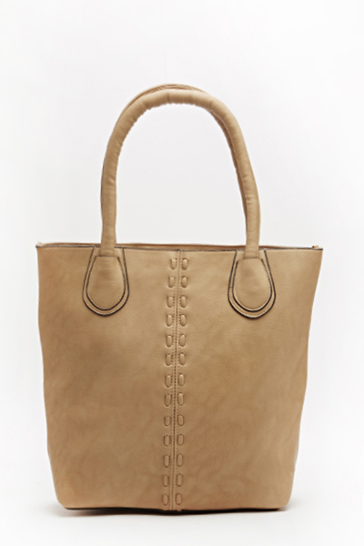 Woven Trim Faux Leather Handbag