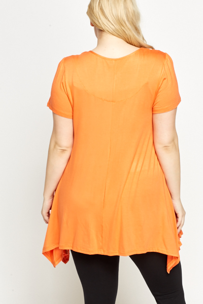 Asymmetric Pocket Side Orange Tunic