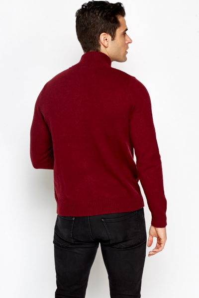 Burgundy Zip Up Jumper