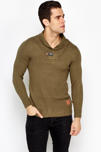 Button Neck Olive Jumper