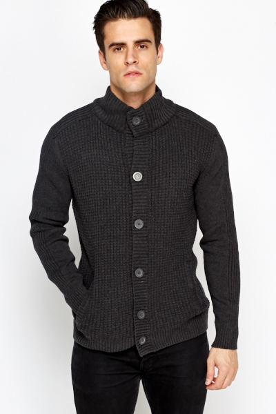 Charcoal Button Front Cardigan