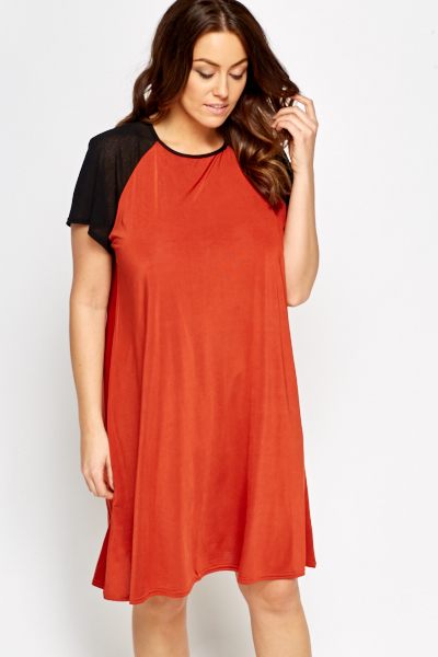 Contrast Sleeve Swing Dress