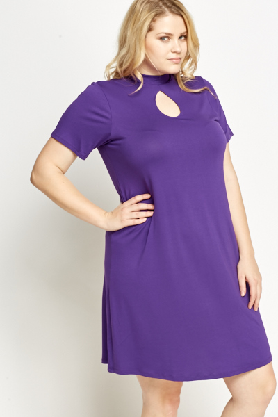 Keyhole Front Purple Dress