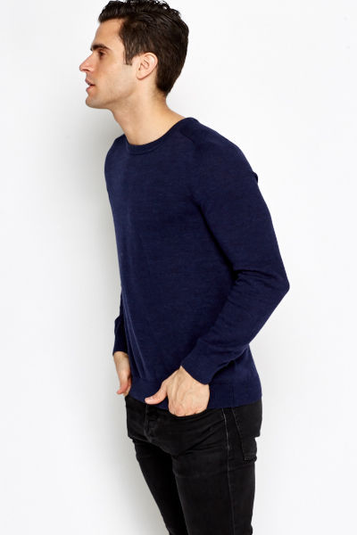 Navy Speckled Cotton Jumper