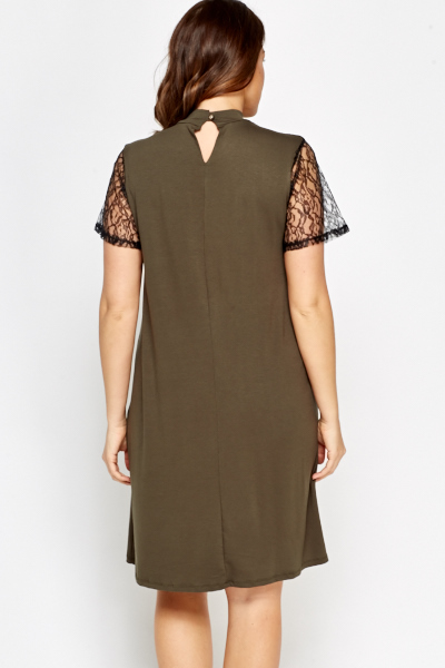Olive Lace Insert Dress