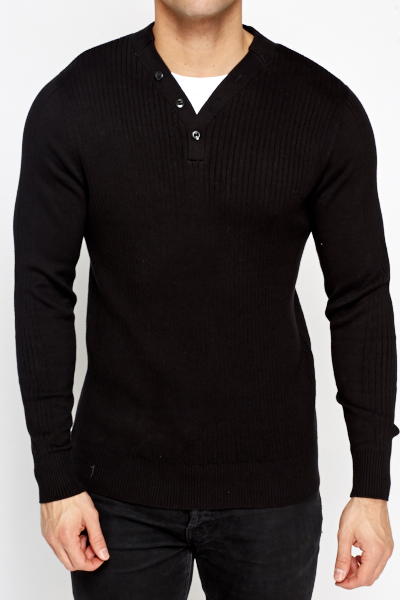 Ribbed Charcoal Knit Jumper