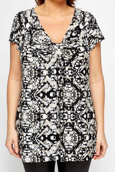 V-Neck Multi Print Top