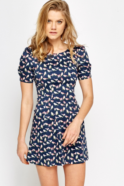 ffa3f8d9cfa9 Bird Print Pleated Swing Dress - Just £5