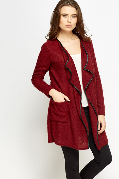 Burgundy Eyelash Knit Cardigan