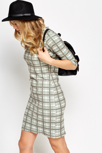 Checked Long Sleeves Bodycon Dress
