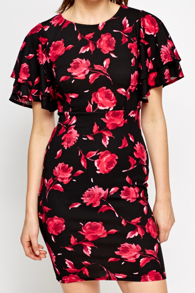 Flared Sleeve Floral Dress