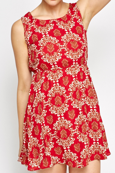 Ornate Red Swing Dress