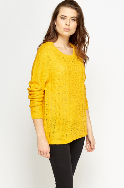 Perforated Plait Front Jumper