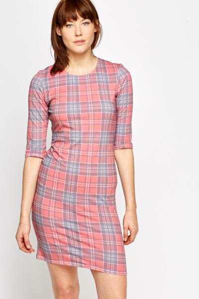 Pink Tartan Print Dress - Just £2