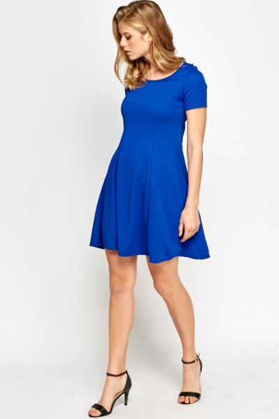Textured Pleated Swing Dress