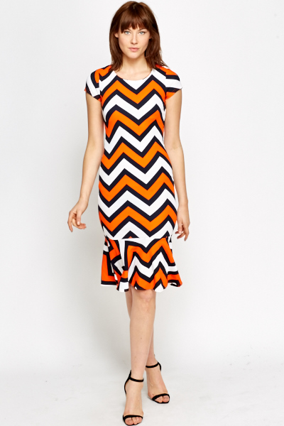 Zig Zag Flared Hem Dress