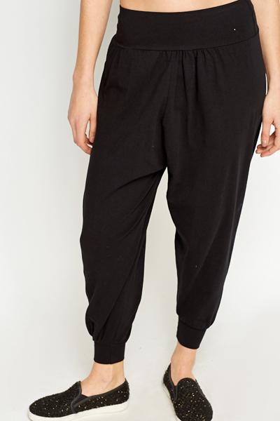 New Black Drop Crotch Joggers - Just U00a35